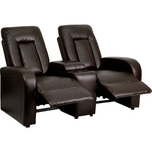 Elise Series 2-Seat Motorized, Push Button and Automated Reclining Brown Leather Theater Seating Unit with Cup Holders