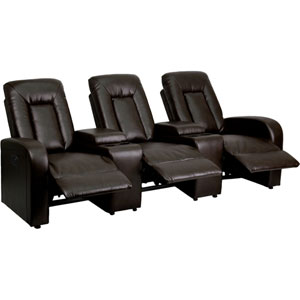 Elise Series 3-Seat Motorized, Push Button and Automated Reclining Brown Leather Theater Seating Unit with Cup Holders
