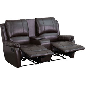 Avery Theater Series 2-Seat Reclining Pillow Back Brown Leather Theater Seating Unit with Cup Holders