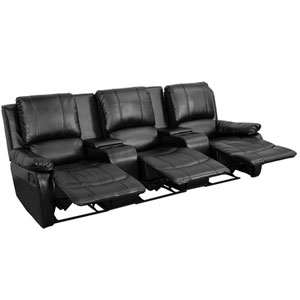 Avery Theater Series 3-Seat Reclining Pillow Back Black Leather Theater Seating Unit with Cup Holders
