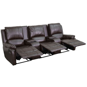 Avery Theater Series 3-Seat Reclining Pillow Back Brown Leather Theater Seating Unit with Cup Holders