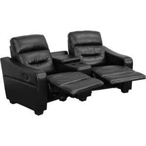 Fulton 2-Seat Reclining Black Leather Theater Seating Unit with Cup Holders