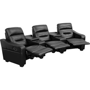 Fulton 3-Seat Reclining Black Leather Theater Seating Unit with Cup Holders