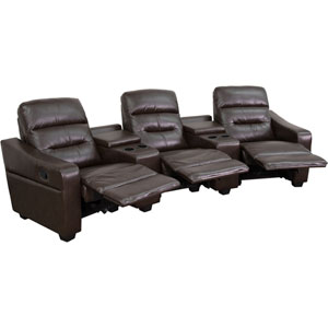 Fulton 3-Seat Reclining Brown Leather Theater Seating Unit with Cup Holders