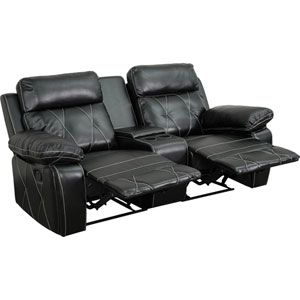 Home Comfort 2-Seat Reclining Black Leather Theater Seating Unit with Straight Cup Holders