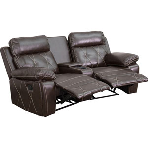 Home Comfort 2-Seat Reclining Brown Leather Theater Seating Unit with Curved Cup Holders