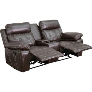 Home Comfort 2-Seat Reclining Brown Leather Theater Seating Unit with Straight Cup Holders