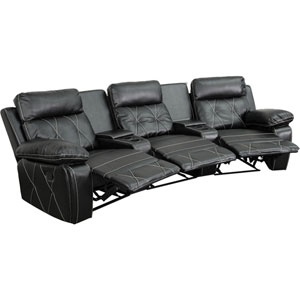 Home Comfort 3-Seat Reclining Black Leather Theater Seating Unit with Curved Cup Holders