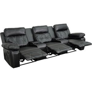 Home Comfort 3-Seat Reclining Black Leather Theater Seating Unit with Straight Cup Holders