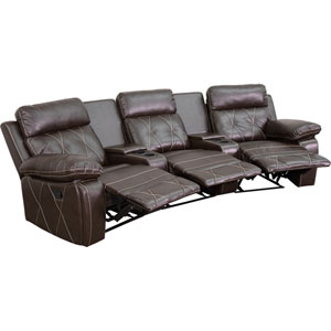 Home Comfort 3-Seat Reclining Brown Leather Theater Seating Unit with Curved Cup Holders