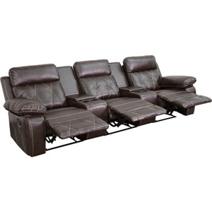 Home Comfort 3-Seat Reclining Brown Leather Theater Seating Unit with Straight Cup Holders