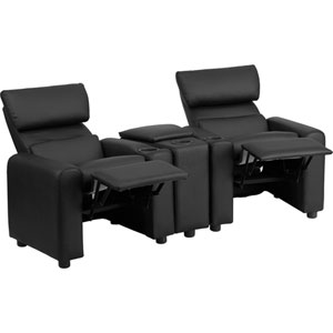 Kids Black Leather Reclining Theater Seating with Storage Console