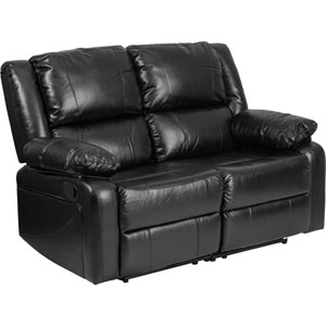 Harmony Black Leather Loveseat with Two Built-In Recliners