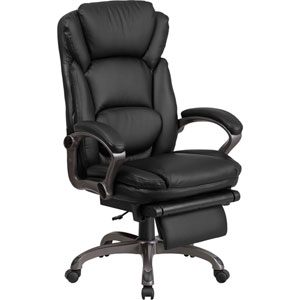 High Back Black Leather Executive Reclining Swivel Office Chair with Padded Armrests
