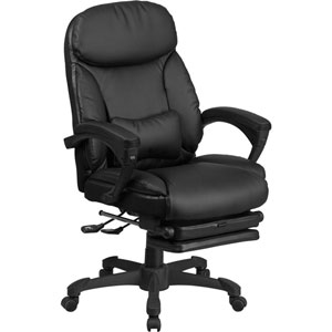 High Back Black Leather Executive Reclining Swivel Office Chair with Comfort Coil Seat Springs and Padded Armrests