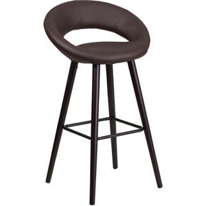 Kensy 29 In. High Contemporary Brown Vinyl Barstool with Cappuccino Wood Frame