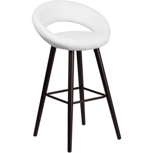Kensy 29 In. High Contemporary White Vinyl Barstool with Cappuccino Wood Frame