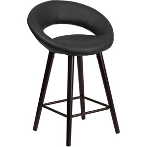Kensy 24 In. High Contemporary Black Vinyl Counter Height Stool with Cappuccino Wood Frame