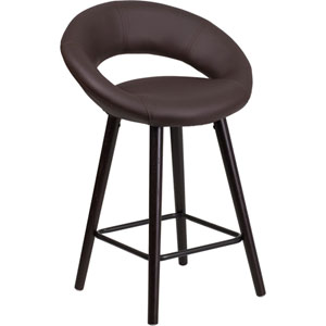 Kensy 24 In. High Contemporary Brown Vinyl Counter Height Stool with Cappuccino Wood Frame