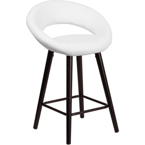 Kensy 24 In. High Contemporary White Vinyl Counter Height Stool with Cappuccino Wood Frame