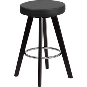 Tyler 24 In. High Contemporary Black Vinyl Counter Height Stool with Cappuccino Wood Frame