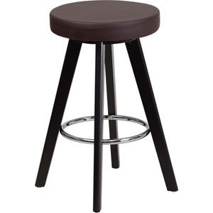 Tyler 24 In. High Contemporary Brown Vinyl Counter Height Stool with Cappuccino Wood Frame