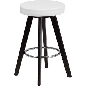 Tyler 24 In. High Contemporary White Vinyl Counter Height Stool with Cappuccino Wood Frame