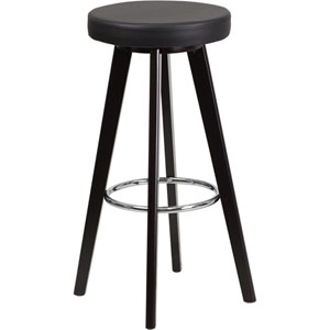 Tyler 29 In. High Contemporary Black Vinyl Barstool with Cappuccino Wood Frame