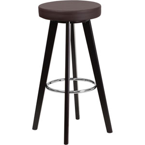 Tyler 29 In. High Contemporary Brown Vinyl Barstool with Cappuccino Wood Frame