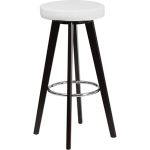 Tyler 29 In. High Contemporary White Vinyl Barstool with Cappuccino Wood Frame