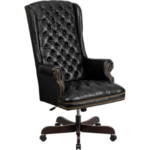 High Back Traditional Tufted Black Leather Executive Swivel Office Chair