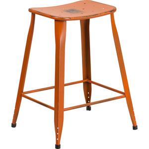 24 In. High Distressed Orange Metal Indoor-Outdoor Counter Height Stool