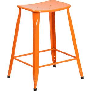 24 In. High Orange Metal Indoor-Outdoor Counter Height Stool