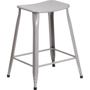 24 In. High Silver Metal Indoor-Outdoor Counter Height Stool