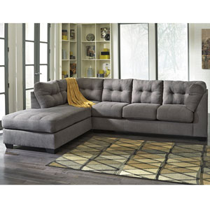 Margo Sectional with Left Side Facing Chaise in Charcoal Microfiber