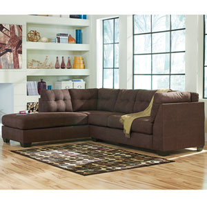 Margo Sectional with Left Side Facing Chaise in Walnut Microfiber