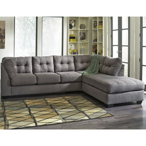 Margo Sectional with Right Side Facing Chaise in Charcoal Microfiber