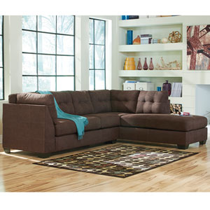 Margo Sectional with Right Side Facing Chaise in Walnut Microfiber