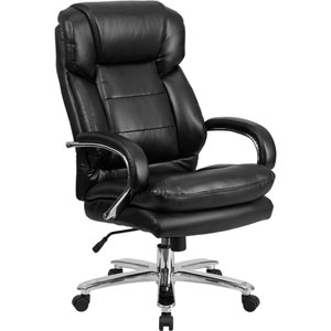 Series 24/7 Intensive Use, Multi-Shift, Big and Tall 500 lb. Capacity Black Leather Executive Swivel Chair with Loop Arms