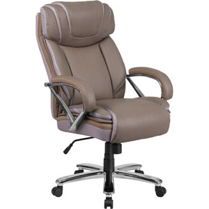 Series 500 lb. Capacity Big and Tall Taupe Leather Executive Swivel Office Chair with Extra Wide Seat