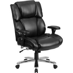 Series 24/7 Intensive Use, Multi-Shift, Big and Tall 400 lb. Capacity Black Leather Executive Swivel Chair with Lumbar