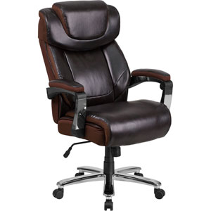 Series 500 lb. Capacity Big and Tall Brown Leather Executive Swivel Office Chair with Height Adjustable Headrest