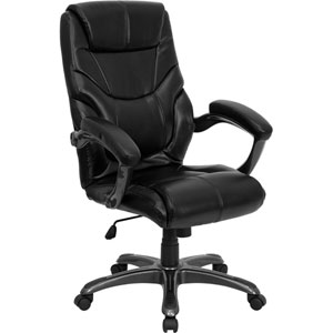 High Back Black Leather Overstuffed Executive Swivel Office Chair