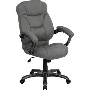 High Back Gray Microfiber Contemporary Executive Swivel Office Chair