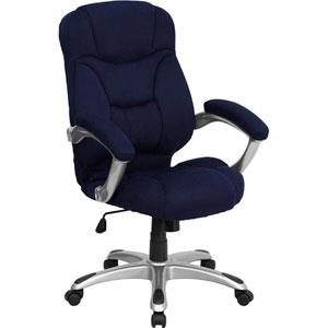 High Back Navy Blue Microfiber Contemporary Executive Swivel Office Chair
