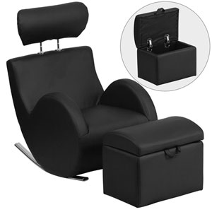 Series Black Vinyl Rocking Chair with Storage Ottoman