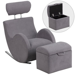 Series Gray Fabric Rocking Chair with Storage Ottoman