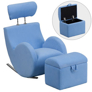 Series Light Blue Fabric Rocking Chair with Storage Ottoman