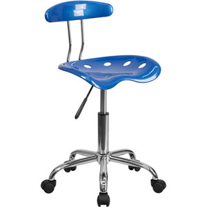 Vibrant Bright Blue and Chrome Task Chair with Tractor Seat