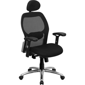High Back Black Super Mesh Executive Swivel Office Chair with Mesh Padded Seat and Knee Tilt Control